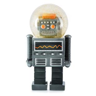 Glitzerkugel Summerglobe THE GIANT ROBOT: die aussergewöhnliche Roboter Schneekugel von Donkey Products. Dekofigur, Roboterfigur, ... XL Version GIANT.