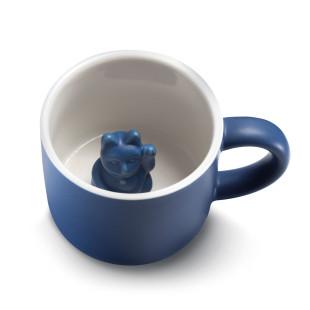 Dunkelblaue Henkeltasse LUCKY MUG mit Glückskatze / Winkekatze. Donkey Products Tasse aus Keramik mit Maneki Neko Glückskatze.