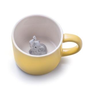 Tiertasse Animal Mug Elefant. Gelbe Henkeltasse mit Elefant von Donkey Products. Keramiktasse für Kinder.