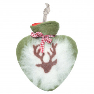 Herz Wärmflasche von dorothee lehnen Textildesign! Hochwertige Wärmflasche mit echtem Wollfilz Bezug - grün mit Hirsch Motiv.