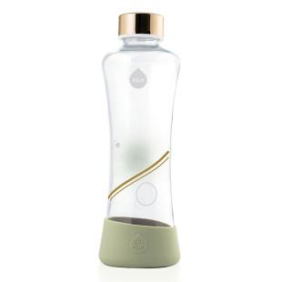 equa Trinkflasche aus Glas - Deckel Metallic Gold - 550 ml - Kreis Print - Design - pistazie grün - Frontal