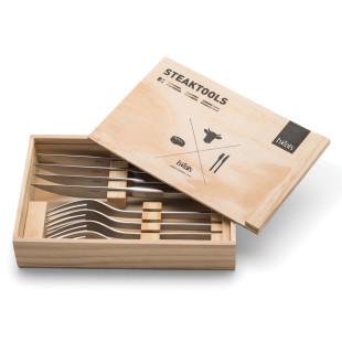 8teiliges Besteck Set - Steakmesser und Gabeln - in der Holzbox - von höfats