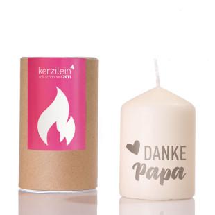 Kerze Flämmchen - Stumpenkerze mit grauem Schriftzug - DANKE PAPA - von Kerzilein