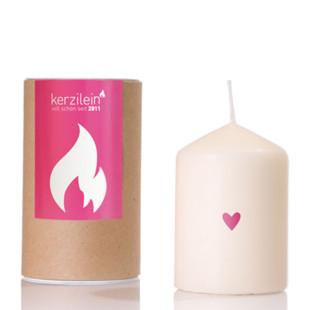 Kerze flämmchen - Herzchen pink - Stumpenkerze mit rosa Herz - Kerzilein