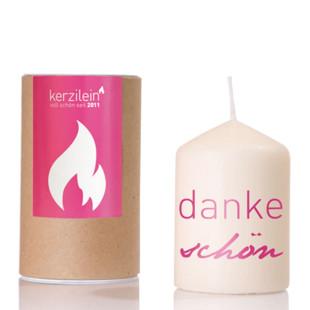 Spruchkerze flämmchen - Stumpenkerze mit pinkem Schriftzug danke schön von kerzilein