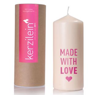 Kerze zur Geburt eines Mädchen - made with love, pink
