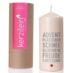 Weihnachtskerze - ADVENT, PLÄTZCHEN, SCHNEE...