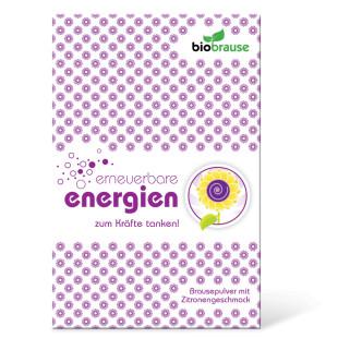 liebeskummerpillen Bio-Brause Erneuerbare Energien - Brausepulver mit Kirschgeschmack in netter Verpackung.