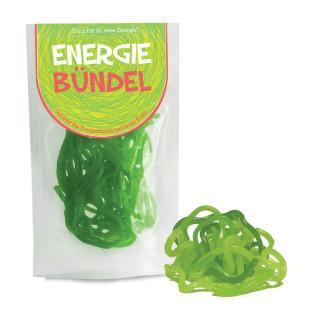 Energie Bündel von liebeskummerpillen - grüne Fruchtgummischnüre in einer netten Geschenkverpackung.