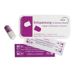 liebeskummerpillen Entspannung in kleinen Dosen - 7 kleine Sprüche in kleiner Kunststoffbox.