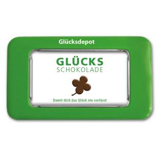 Glücks-Schokolade von liebeskummerpillen: kleine Edelvollmilchschokolade in netter Geschenk-Blechdose.