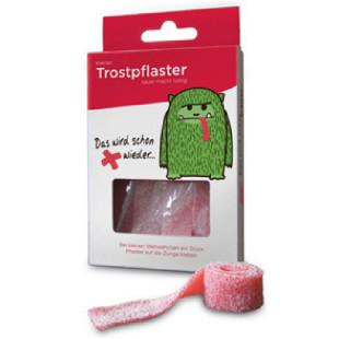 liebeskummerpillen Trostpflaster: saure Fruchgummibänder mit Erdbeergeschmack in netter Geschenkschachtel.