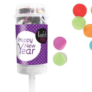 Konfetti Popper Happy New Year von liebeskummerpillen verschießt buntes Konfetti auf der nächsten Feier zum Jahreswechsel.