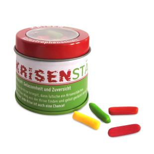 liebeskummerpillen Kristenstäbe - Kaubonbons mit Erdbeer- und Melonengeschmack in kleiner Metalldose.