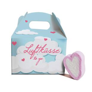 Luftküsse to go von liebeskummerpillen - 20g leckere Herz Marshmallows, nett verpackt in der Geschenkbox.