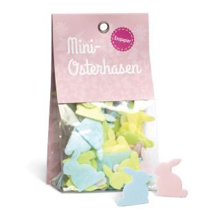 liebeskummerpillen Mini-Osterhasen: buntes Esspapier in Hasenform in kleiner Geschenkverpackung.