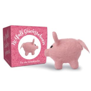 liebeskummerpillen Notfall Glücksschwein: kleines rosa Mini Schweinchen aus Filz.