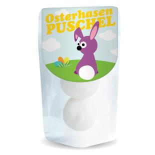 liebeskummerpillen Osterhasen Puschel: zwei leckere Marshmallows, verpackt in einer kleinen Kunststofftüte mit nettem Häschen-Cover.