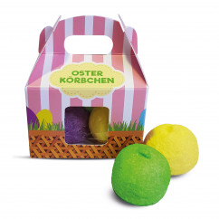Die Süßigkeit für Ostern! Das Osterkörbchen von liebeskummerpilllen. Befüllt mit bunten Marshmallowsbällen.