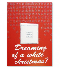 liebeskummerpillen Postkarte Dreaming of a white Christmas: rote Postkarte mit Magic Snow Schneepulver.
