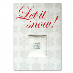 Postkarte Let it Snow von liebeskummerpillen mit Magic Snow Powder Päckchen.