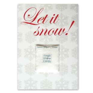 Postkarte Let it Snow von liebeskummerpillen mit Magic Snow Powder Päckchen.