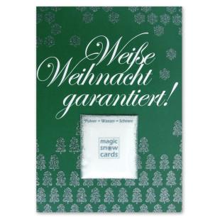 liebeskummerpillen Postkarte Weiße Weihnacht garantiert: grüne Postkarte mit Magic Snow Schneepulver.