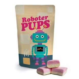 Roboter Pups von liebeskummerpillen - Verpackung mit Robotermotiv, gefüllt mit eckigen Marshmallows.