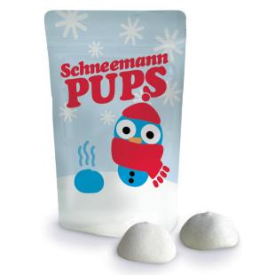 Schneemann Pups von liebeskummerpillen: kleine Tüte mit lustigem Schneemann-Motiv, gefüllt mit zwei weissen Marshmallows.