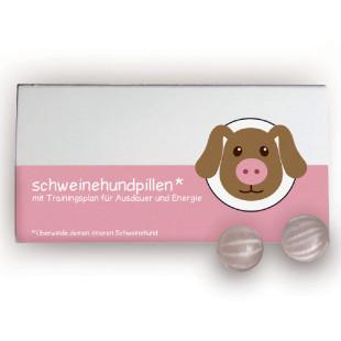 liebeskummerpillen Schweinehundpillen: Erdbeer-Fruchtbonbons mit witzigem Beipackzettel in einer netten Geschenkschachtel.