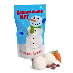 Snowman Kit von liebeskummerpillen: Schneemann Bauset bestehend aus 3 Marshmallow-Schneebällen, 1 Zuckermöhre und Schokolinsen in netter Geschenktüte.