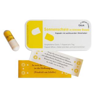 liebeskummerpillen Sonnenschein in kleinen Dosen - 7 nette Sprüche in kleiner Kunststoffbox.