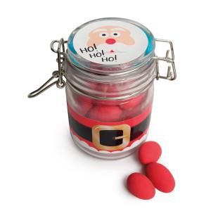Bügelglas Weihnachtsmann mit Erdbeer-Kaubonbon-Dragees. Ideal für den Nikolausstrumpf, Adventskalender oder als Mitbringsel in der Weihnachtszeit: das Weihnachtsmannglas von liebeskummerpillen.