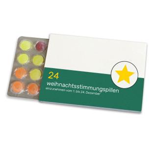 Weihnachtsstimmungspillen Adventkalender von liebeskummerpillen: 24 Pulmoll-Bonbons im Blister in netter Geschenkverpackung.