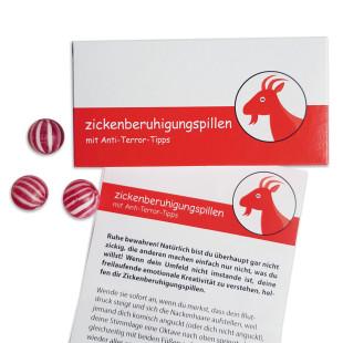 Zickenberuhigungspillen mit Anti-Terror-Tipps - Stachelbeeren Bonbons in der Geschenkschachtel von liebeskummerpillen