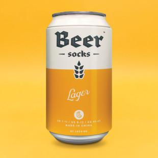 Bier Socken in der Dose von Luckies - Beer Socks - Lager - gelbe Dose