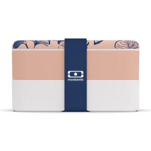 MB ORIGINAL Bento Box. Lunchbox mit Ginkgo Print. 2 Etagen - peach/weiß! Auslaufsichere Design Lunchbox von monbento.