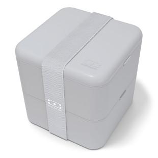 Große Lunchbox monbento MB SQUARE in hellgrau (cotton - cotton). Die große Bento Box mit zwei Stockwerken inkl. Gummiband.