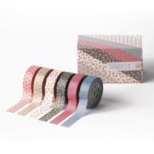 Geschenkbox mt masking tape / Washi Tape WAMON mit 6 Rollen. Japanische Dekoklebebänder aus Reispapier.