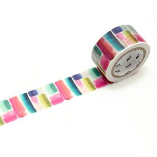 Dekoratives mt masking tape. Washi Tape MURALLA mit bunten Aquarell Pinselstrichen. Original mt masking tape aus Reispapier