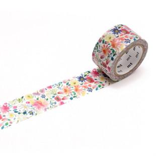 Dekoratives mt masking tape. Washi Tape ZINNIA mit feinem Blütenmuster. Original mt masking tape aus Reispapier