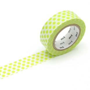 Original mt masking tape mit Punkten hellgrün. Washi Tape lime grün. Gepunktetes Dekoklebeband DECO DOTS. Japanisches Washi Tape aus Reispapier.