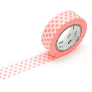 Original mt masking tape mit Punkten shocking red. Washi Tape neon rot - Gepunktetes Dekoklebeband DECO DOTS. Japanisches Washi Tape aus Reispapier.