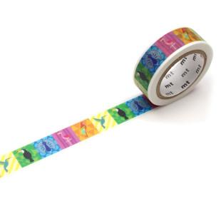 Dekoratives mt masking tape. Washi Tape EX mit bunten Vögeln. Original mt masking tape aus Reispapier