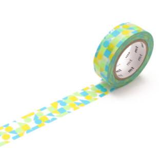 Washi Tape MARU SANKAKU SHIKAKU (Dreiecke, Quadrate, Kreise) grün-blau. mt masking tape mit geometrischen Formen.