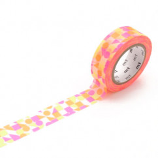 Washi Tape MARU SANKAKU SHIKAKU (Dreiecke, Quadrate, Kreise) pink-orange. mt masking tape mit geometrischen Formen.