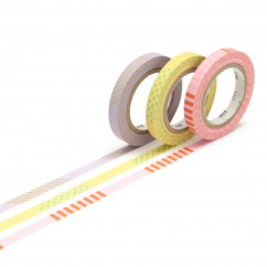 mt masking tape SLIM DECO A 3er-Set. Schmales Washi Tape SLIM mit tollen Mustern und Prints. Japan Reispapier Tapes.