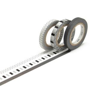 mt masking tape SLIM DECO F 3er-Set. Schmales Washi Tape SLIM mit tollen schwarz-weiß Mustern und Prints. Japan Reispapier Tapes