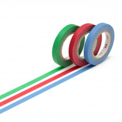 mt masking tape SLIM 3er-Set. Schmales Washi Tape SLIM - blau, grün & rot. Japan Reispapier Tapes.