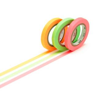 Original mt masking tape SLIM 6 mm / 3 schmale Rollen Washi Tape SHOCKING SLIM Set in neonfarben grün, rot und orange.